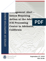 Management Alert – Issues Requiring Action at the Adelanto ICE Processing Center in Adelanto, California
