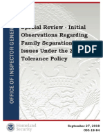 Special Review - Initial Observations Regarding Family Separation Issues Under the Zero Tolerance Policy
