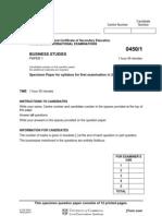 IGCSEBusinessStudiesSpecimenPaper1_2004