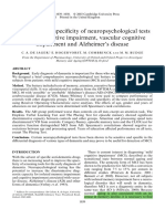 Sensitivity and Specificity of Neuropsychological Tests for Mild Cognitive Impairment, Vascular Cognitive Impairment and Alzheimer's Disease