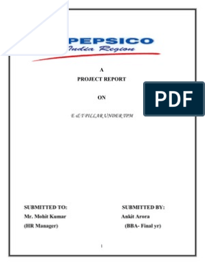 hr project on pepsico for BBA