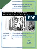 Patologias en La Construccion, Huapaya Chavez Jefferson Vladimir