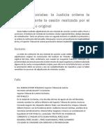 Justicia Ordena Restitución Ante Cesión Realizada Por El Adjudicatario Original