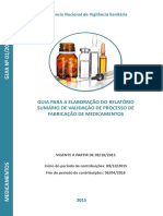 Elaboração Do Relatório de Validação de Processo de Fabricação de Medicamentos