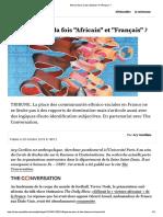 """Peut-on être àlafois """"Africain"""" et""""Français""""?"""