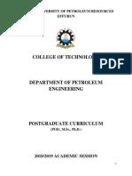 PG PET Curriculum