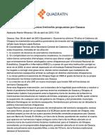 Aceptó Chiapas tres puntos limítrofes propuestos por Oaxaca - Quadratín