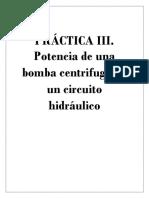 Potencia de una bomba centrifuga en un circuito hidráulico