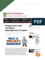 Pengertian Dan Tahapan Manajemen Proyek - Cari Informasi