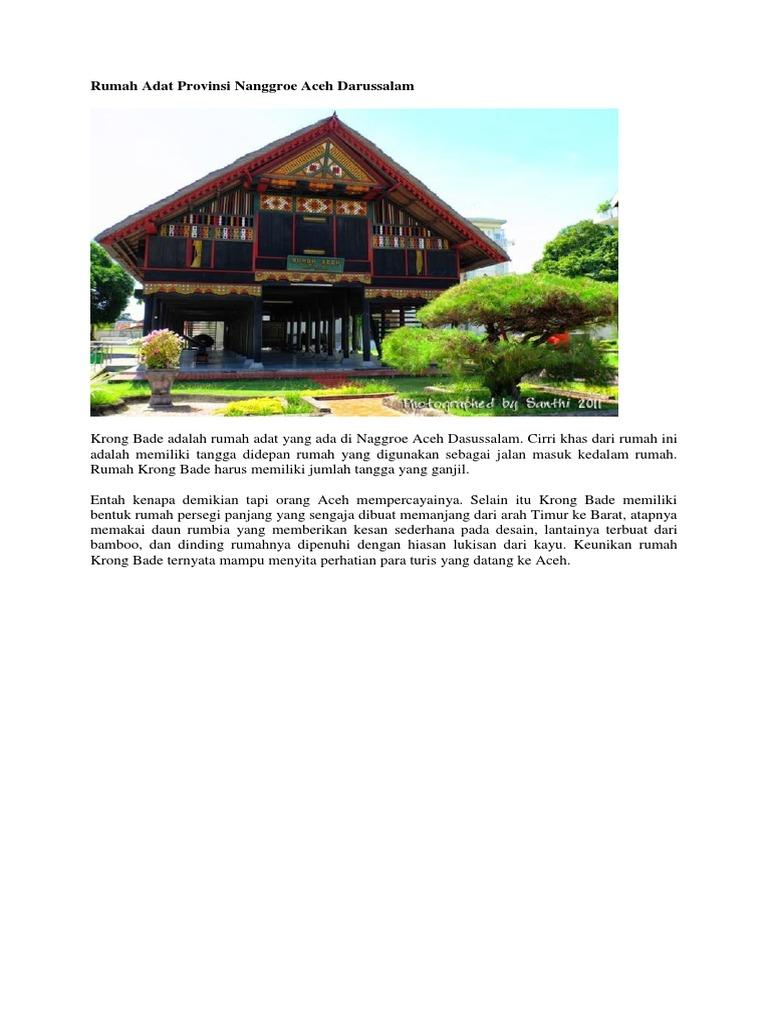 Rumah Adat Provinsi Nanggroe Aceh Darussalam Docx