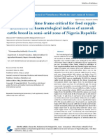 Comparison of Time Frame Critical for Feed Supplementation on Haematological Indices of Azawak Cattle Breed in Semi–Arid Zone of Nigeria Republic