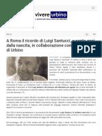 A Roma il ricordo di Giovanni Santucci a cento anni dalla nascita - Vivere Urbino.it, 4 ottobre 2018