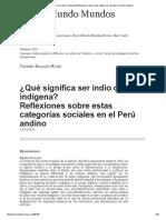¿Qué significa ser indio o indígena_Reflexiones sobre estas categorías sociales en el Perú andino.pdf