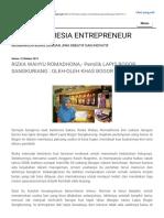 Blog Indonesia Entrepreneur Rizka Wahyu Romadhona,- Pemilik Lapis Bogor Sangkuriang Oleh-oleh Khas Bogor