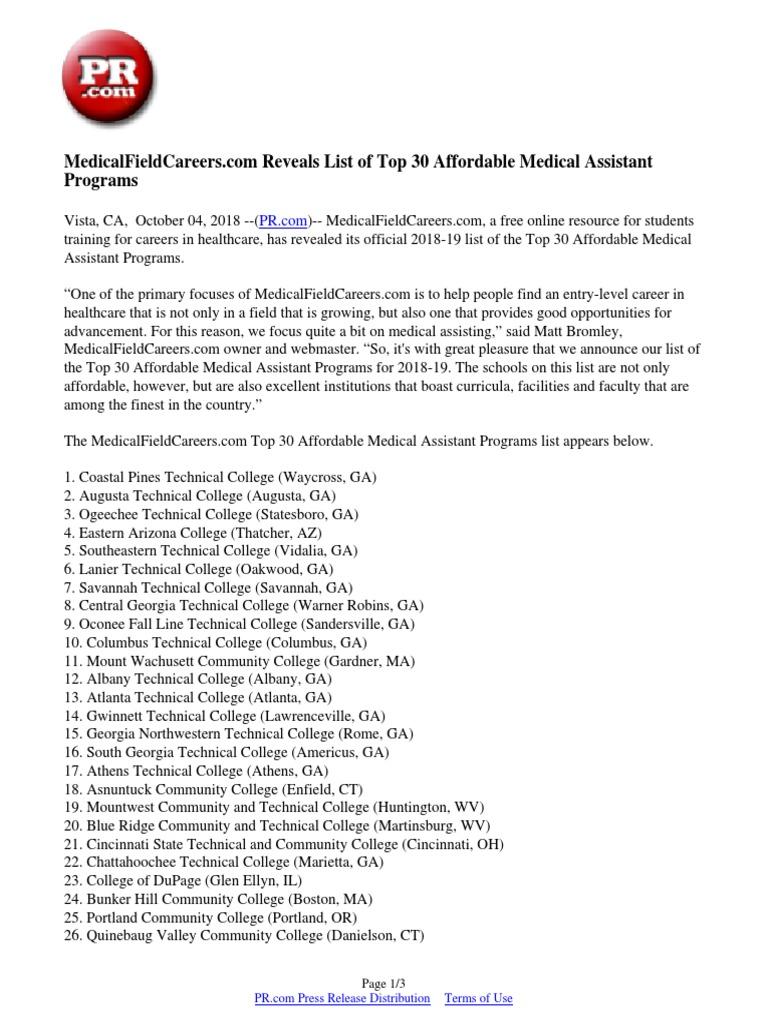 Medical Careers List >> Medicalfieldcareers Com Reveals List Of Top 30 Affordable