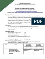 FTU- International Marketing  syllabus