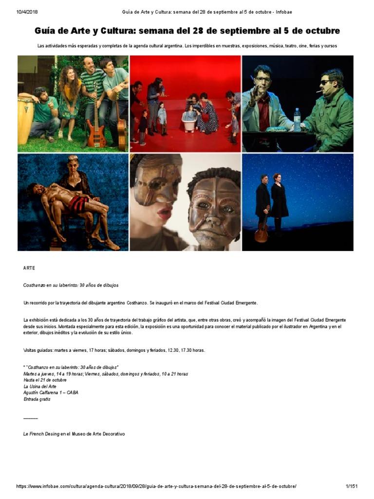 21fcb8de42 Guía de Arte y Cultura  Semana Del 28 de Septiembre Al 5 de Octubre -  Infobae
