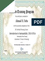 Ahmad H. Fatta Sustainability Certificate