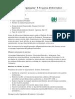 Manager Pôle Organisation Système DInformation