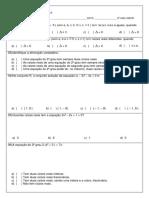 AVALIAÇÃO BIMESTRAL - 2° BIMESTRE - 9° ANO AMOR - EQUAÇÕES COMPLETAS