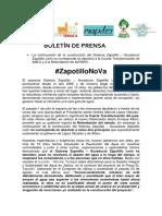 BOLETÍN DE PRENSA  #ZapotilloNoVa