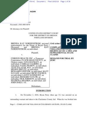 Clackamas Jail Lawsuit   Lawsuit   Complaint