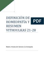 Definición de Homeopatía y Resumen Vithoulkas 21-28