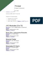 Direcciones Almacenes de Musica en Bogota