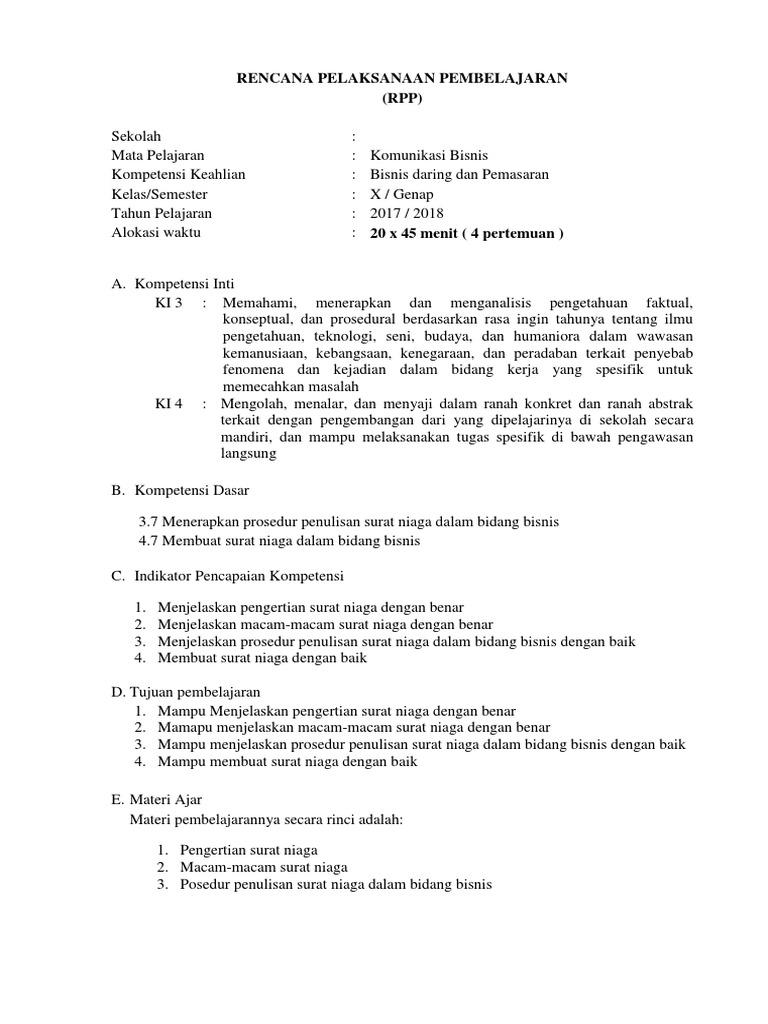 Rpp Ke 7 Pprosedur Penulisan Surat Niaga