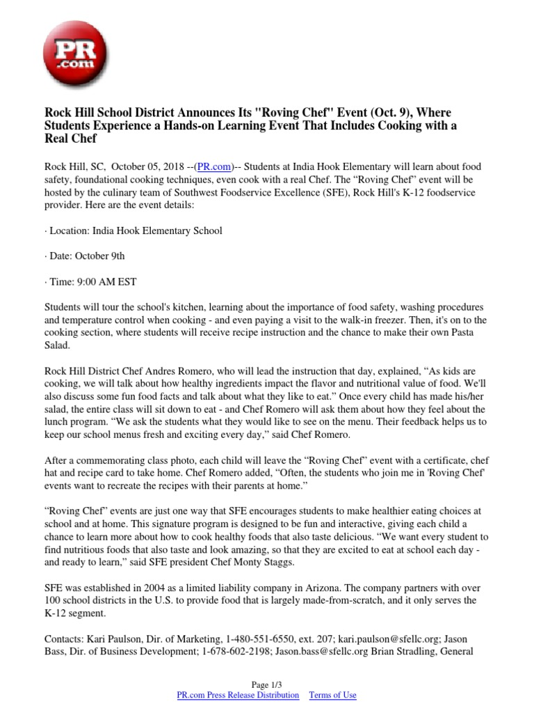Rock Hill School District Announces Its Roving Chef Event Oct 9