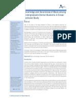 Knowledge and Awareness of Ebola among Undergraduate Dental Students
