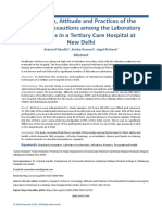 Knowledge, Attitude and Practices of the Standard Precautions among the Laboratory Technicians in a Tertiary Care Hospital at New Delhi