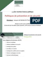 Présentation M2 Politiques de Prévention Et de Sécurité Mars 2016