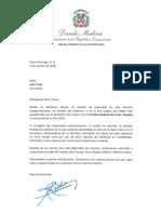 Carta de felicitación del presidente Danilo Medina a Iván Tovar, ganador del Premio Nacional de Artes Visuales 2018