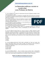 Simulado Concurso Professor de História- Assunto Demandas pólíticas e sociais no mundo atual