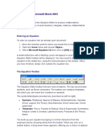 Equations in Microsoft Word 2003