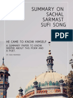 Summary on Sachal  Sarmast Sufi Song