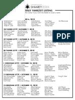 October 6, 2018 Yahrzeit List