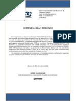 Comunicado da CEB ao mercado sobre suspensão da venda de ações