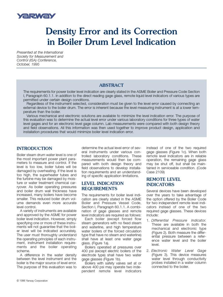 Boiler Drum Level Writup.-3pdf | Boiler | Pressure Measurement