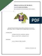 Proyecto de Inversión Para Instalación de Planta de Fabricación de Herramientas de Corte