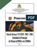 NSv Nº 013 2018 Promoção de Oficiais Da PMMA e Do CBMMA