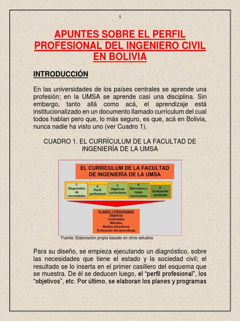 Apuntes Sobre El Perfil Profesional Del Ingeniero Civil En