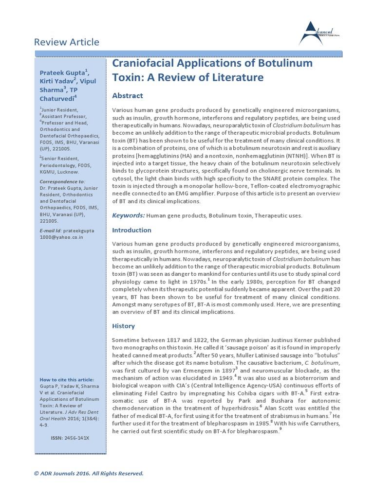 Craniofacial Applications of Botulinum Toxin: A Review of
