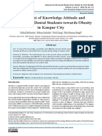 Assessment of Knowledge Attitude and Perception of Dental Students towards Obesity in Kanpur City