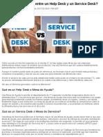 Cuál Es La Diferencia Entre Un Help Desk y Un Service Desk