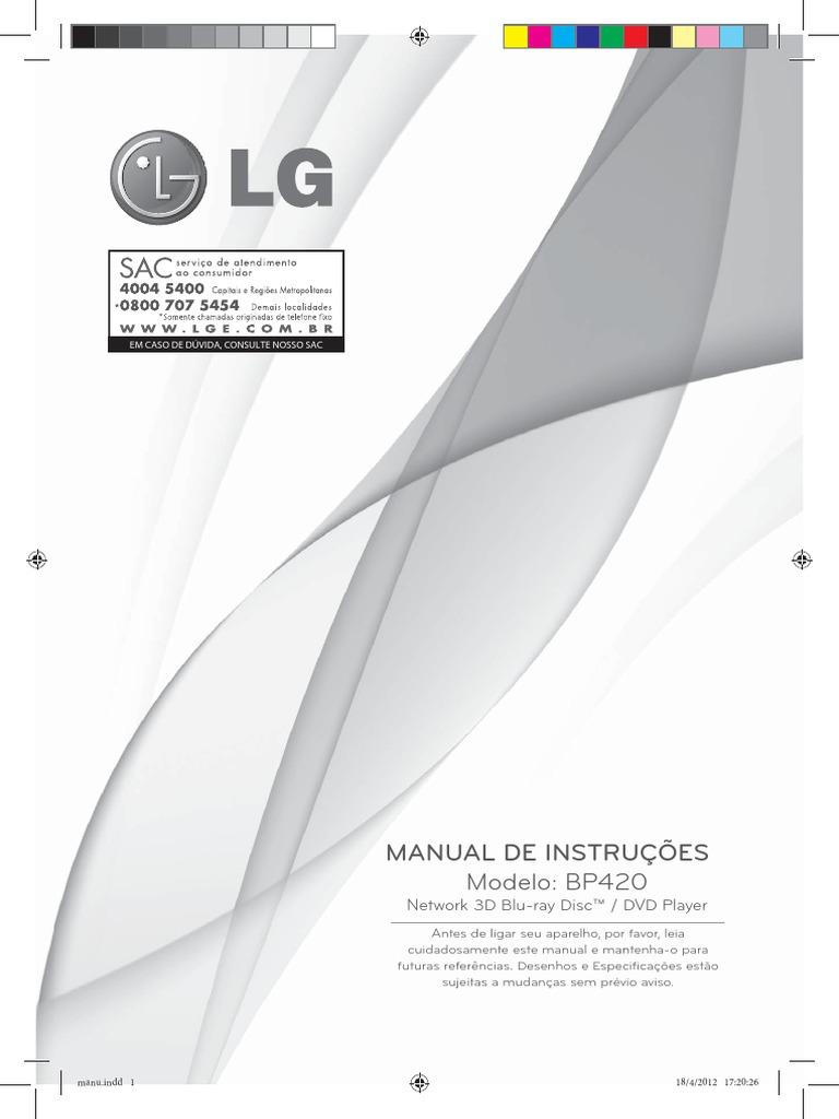 LG BP420 Manual De Instruções | HDMI | Vídeo