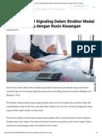 Mengenal Teori Signaling Dalam Struktur Modal & Hubungannya Dengan Rasio Keuangan