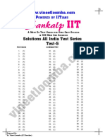 Solutions IIT JEE All India Test Series Test 5