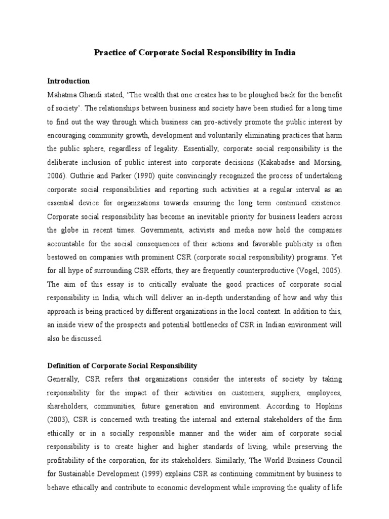 a review of corporate social responsibility commerce essay A large number of the corporate social responsibility definitions have been published in order to define the closest meaning of the corporate.